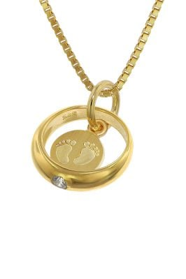 trendor 75395 Taufring Babyfüße Gold 585 / 14 Karat mit vergoldeter Kette