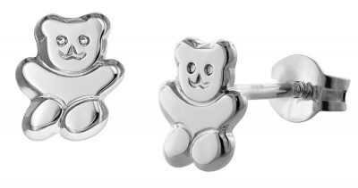 trendor 08487 Teddybär Mädchen-Ohrringe Silber
