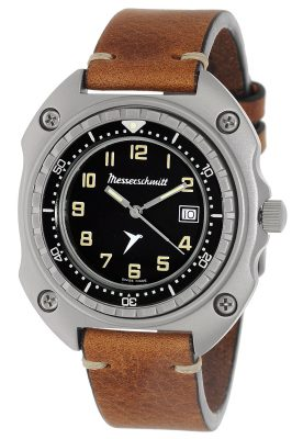 Messerschmitt ME-2040-VLB Herren-Armbanduhr Vintage Leder Braun
