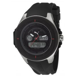 Puma PU911021001 Fuel Silver Black Alarm-Chronograph