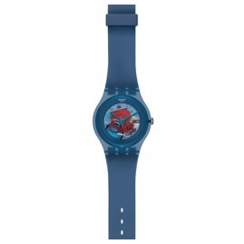 Swatch SUON102 Blue Grey Lacquered Wrist Watch