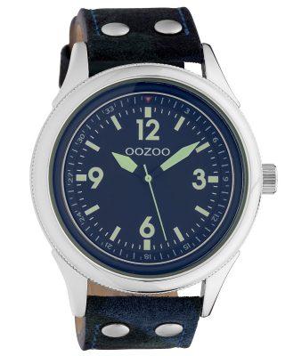 Oozoo C10350 Herren-Armbanduhr mit Lederband Ø 48 mm Camouflage/Blau