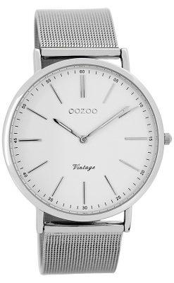 Oozoo C7385 Vintage Armbanduhr Weiß/Silber 40 mm