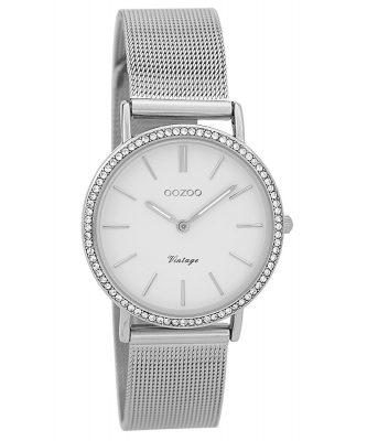 Oozoo C9325 Damenarmbanduhr Vintage Silberfarben/Weiß 32 mm