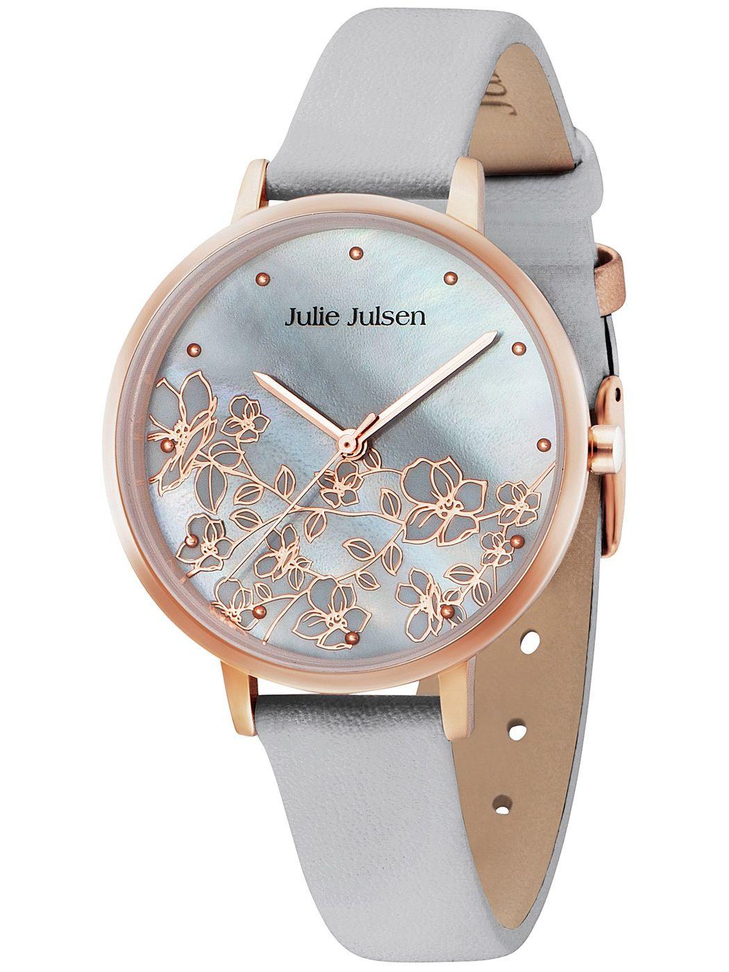 Julie Julsen JJW80RGL-8 Damenuhr Blütenzweig Rosé/Grau