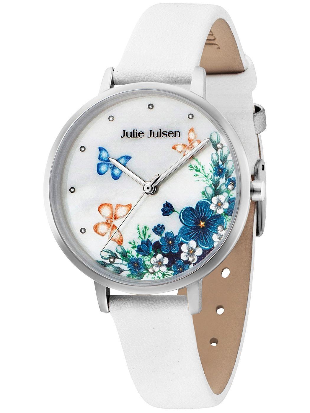 Julie Julsen JJW90SL-9 Damenarmbanduhr Blumen und Schmetterlinge