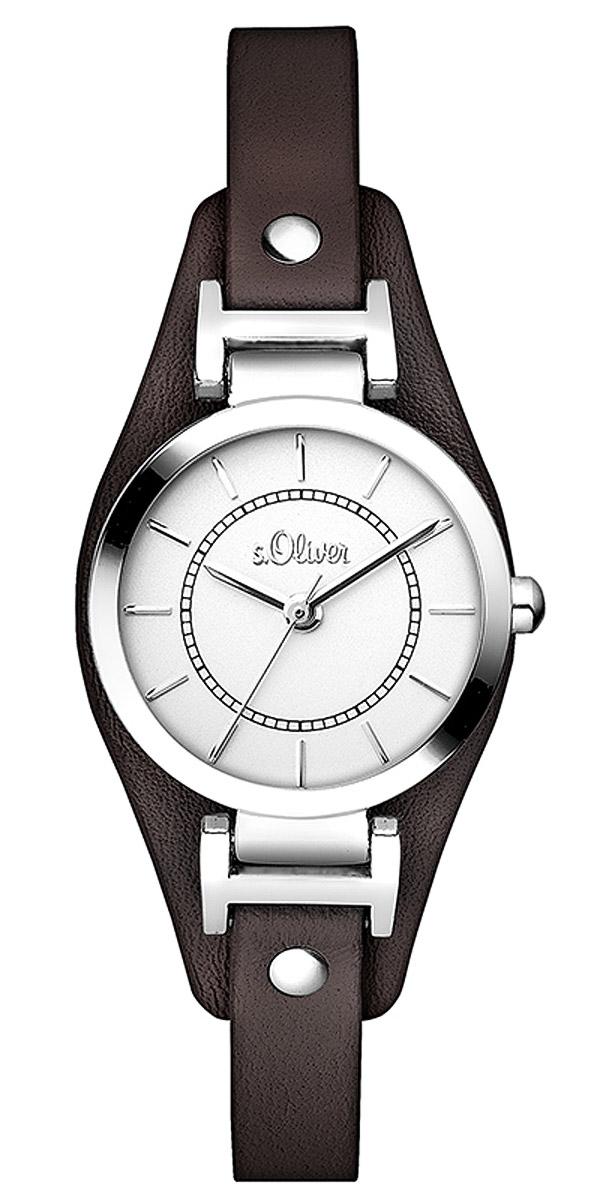 bei Uhrcenter: s.Oliver SO-2964-LQ Damenuhr mit braunem Lederband - Damenuhr