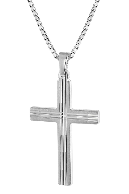 trendor 63560 Silber Herren-Halskette mit Kreuz-Anhänger