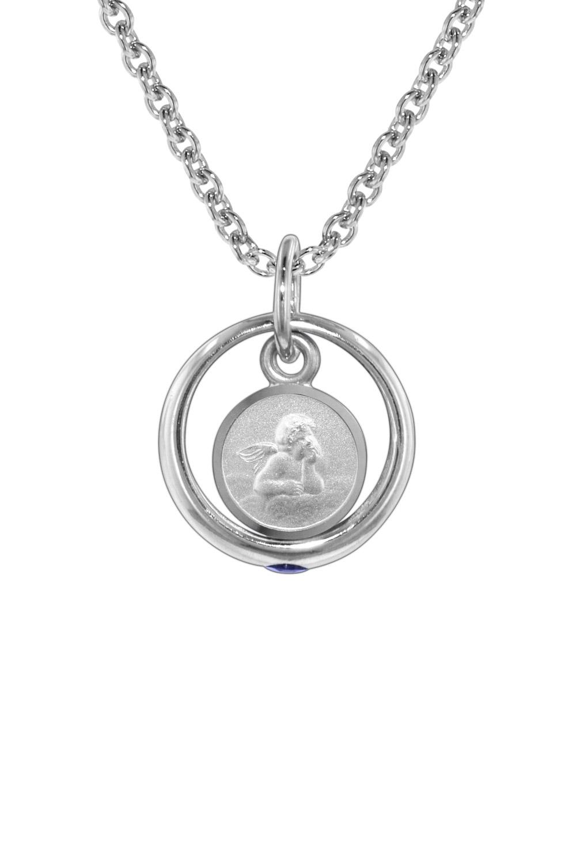 trendor 73273 Silberkette mit Saphir-Taufring