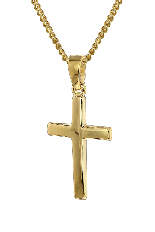 trendor 35793 Gold 333 Kreuz-Anhänger mit 40 cm goldplattierter Halskette