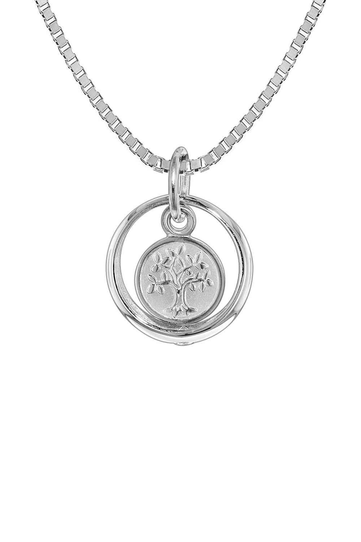 trendor 08308 Silber Kinder-Halskette Taufring mit Lebensbaum
