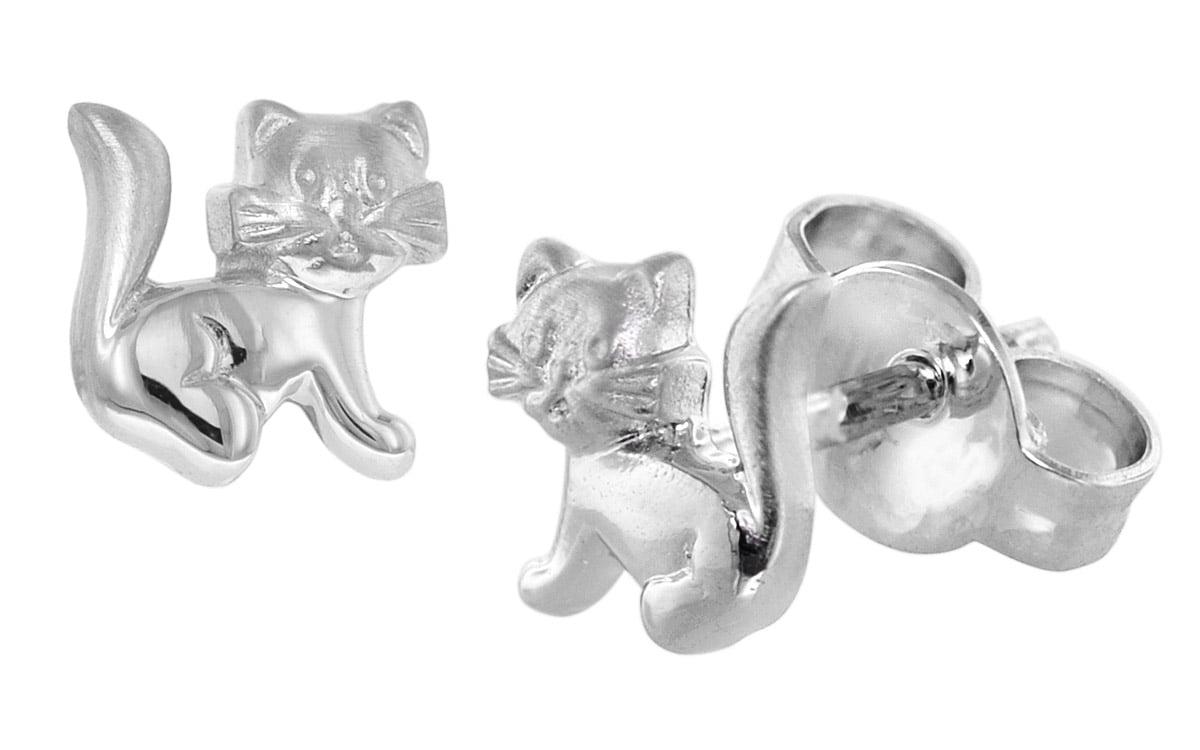 trendor 08488 Silber Kinder-Ohrringe Katze