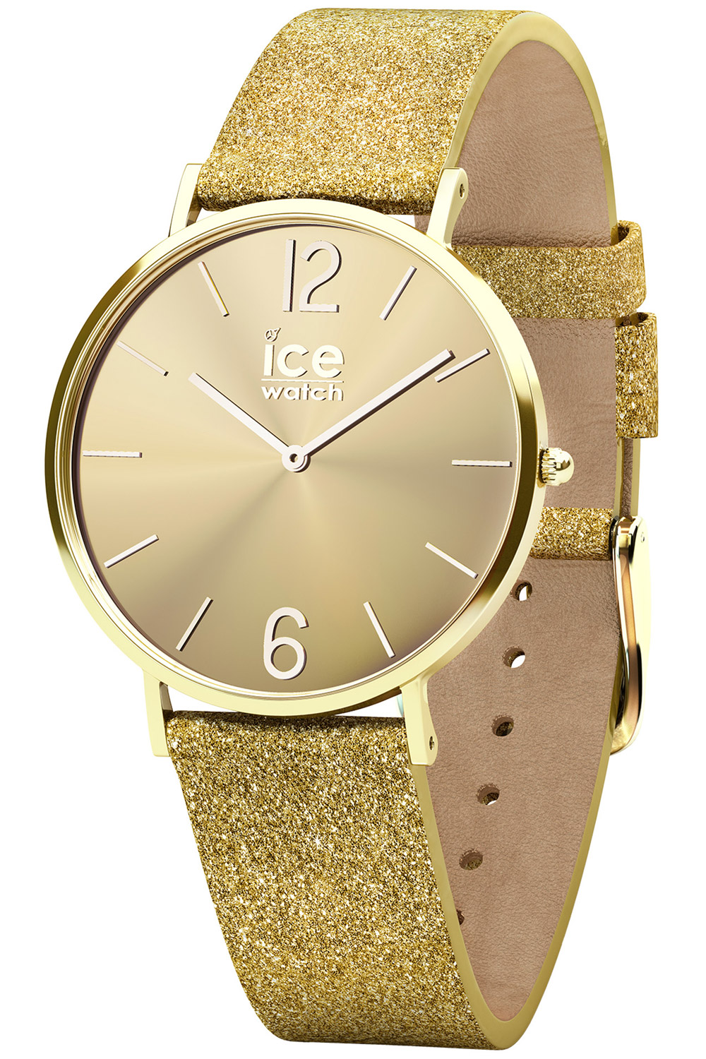 bei Uhrcenter: Ice-Watch 015087 Damenuhr City Sparkling Glitter Gold S - Damenuhr