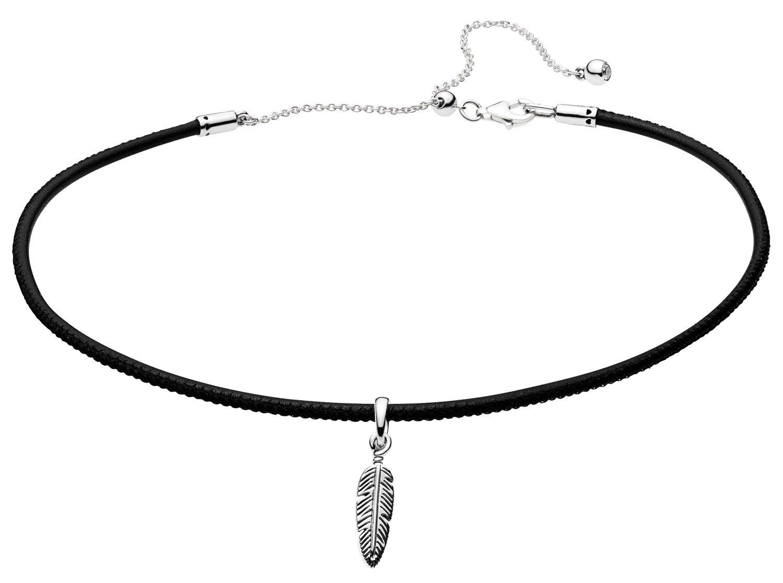 Pandora 397197CBK Damen-Halskette Choker mit Feder Schwarz
