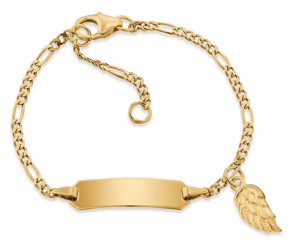 bei Uhrcenter: Herzengel HEB-ID-WING-G9K Kinder-Armband mit Gravurschild Gold - Schmuck