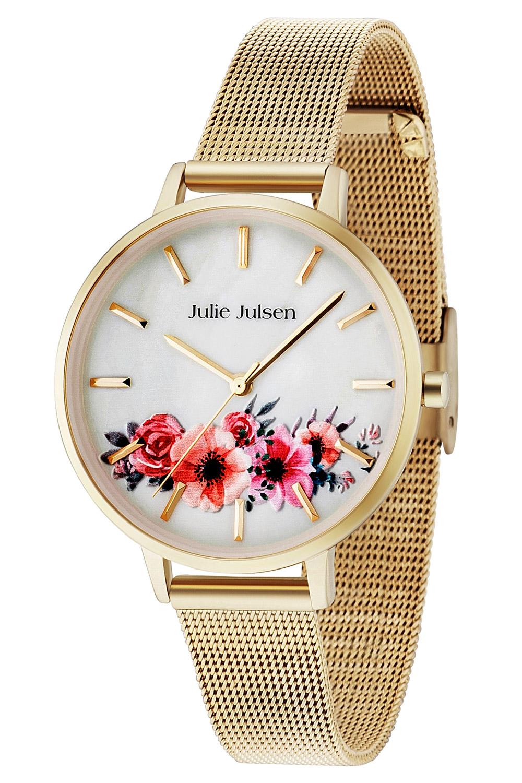 bei Uhrcenter: Julie Julsen JJW20YGME Damenuhr Flower Gold Tone Mesh - Damenuhr