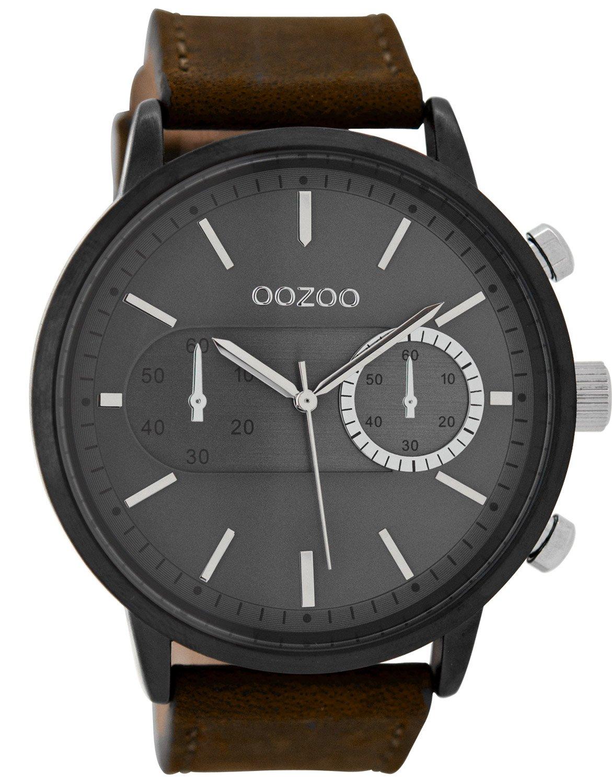 Oozoo C9057 Herrenuhr im Chrono-Look Braun/Dunkelgrau 49 mm