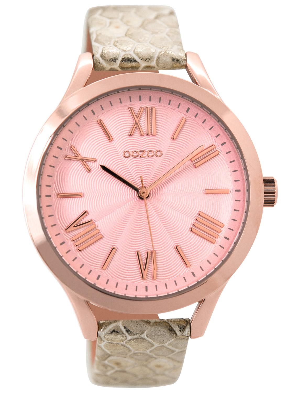 bei Uhrcenter: Oozoo C9478 Damenuhr mit Lederband roségoldfarben/snake 42 mm - Damenuhr