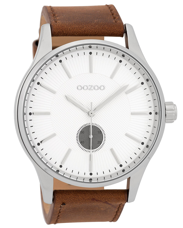 Oozoo C9635 Herrenuhr mit Lederarmband Weiß/Braun 48 mm
