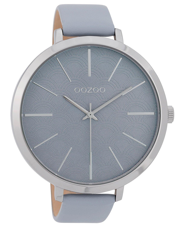 bei Uhrcenter: Oozoo C9677 Damenuhr mit Lederband 48 mm Hellblau - Damenuhr