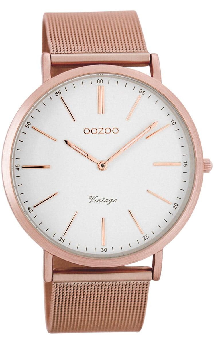 Oozoo C7390 Vintage Armbanduhr Weiß/Rosé 40 mm