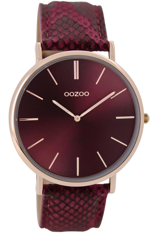 Oozoo C9304 Unisexuhr Vintage Bordeaux/Snake 40 mm