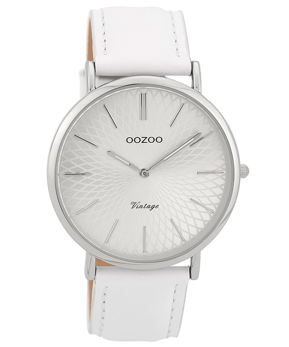 Oozoo C9330 Damen-Armbanduhr Vintage Silberfarben/Weiß 40 mm