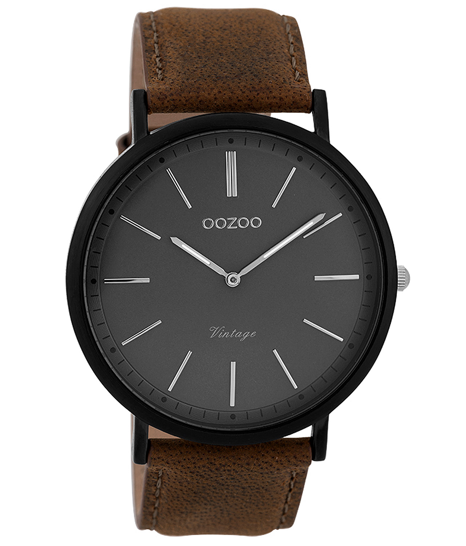 Oozoo C9352 Herrenarmbanduhr Vintage Schwarz/Braun/Grau 44 mm