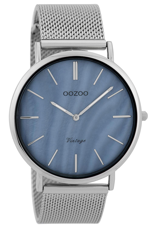 Oozoo C9362 Damenuhr Vintage Silberfarben/Grey Pearl 40 mm