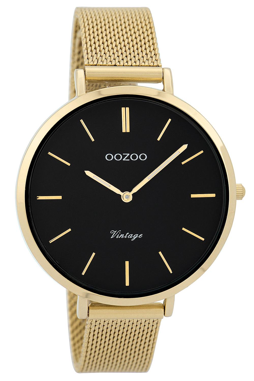 Oozoo C9379 Damenarmbanduhr Vintage Goldfarben/Schwarz 40 mm