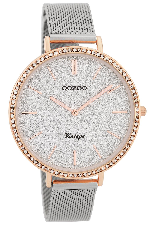 Oozoo C9396 Damenuhr Vintage Silber/Glitzer 40 mm mit Milanaisearmband