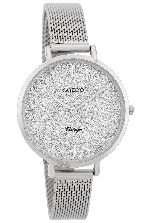 bei Uhrcenter: Oozoo C9825 Damenuhr Vintage Silber/Glitzer 34 mm mit Milanaisearmband - Damenuhr