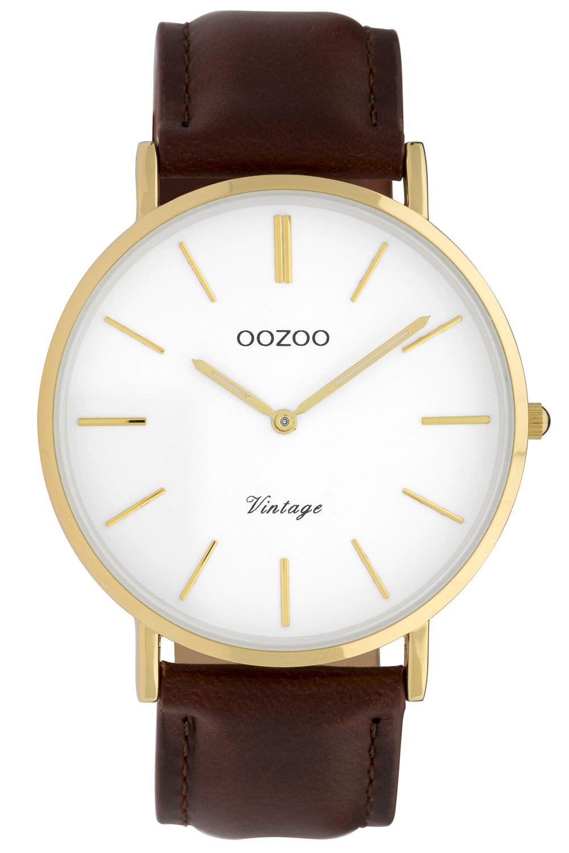 Oozoo C9831 Damenuhr Vintage Weiß/Dunkelbraun 40 mm