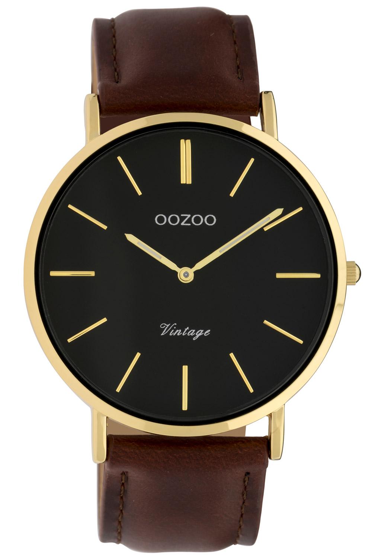 Oozoo C9833 Damenuhr Vintage Schwarz/Dunkelbraun 40 mm