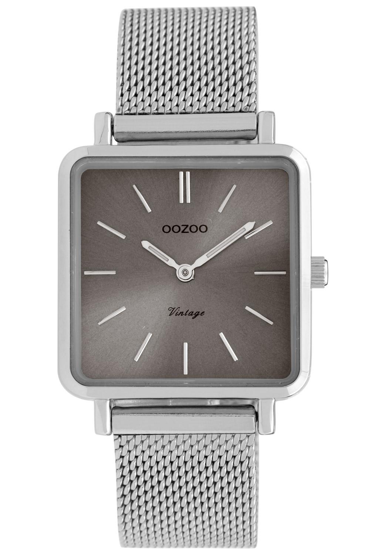 Oozoo C9842 Damenuhr Vintage Grau/Milanaiseband 28 mm