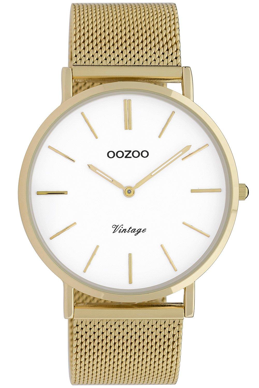 bei Uhrcenter: Oozoo C9909 Damenuhr Vintage Goldfarben/Weiß 40 mm - Damenuhr
