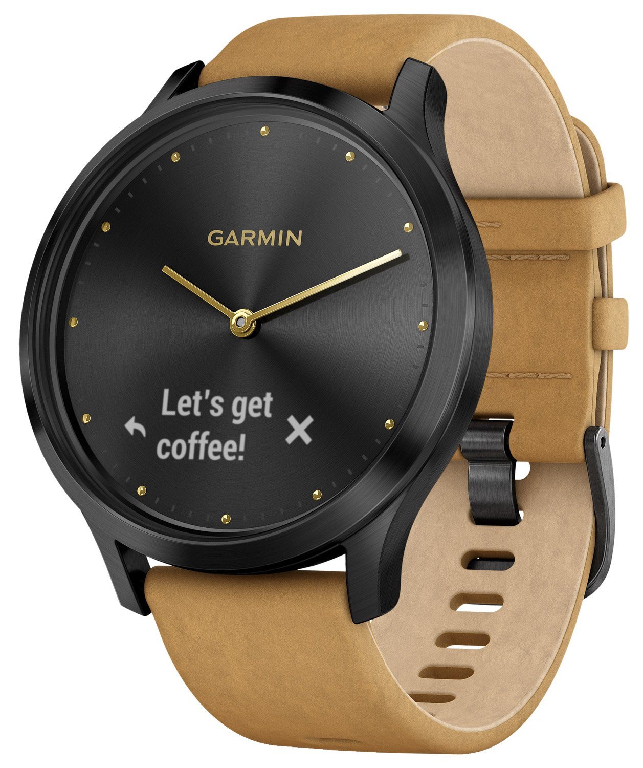 Garmin 010-01850-00 vivomove® HR Premium Fitness-Tracker Smartwatch Black/Tan