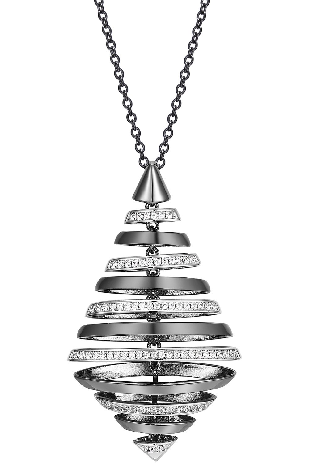 bei Uhrcenter: IUN Silver Couture PS01119A1-WWB Collier New Wave Silber 925 Bicolor - Schmuck