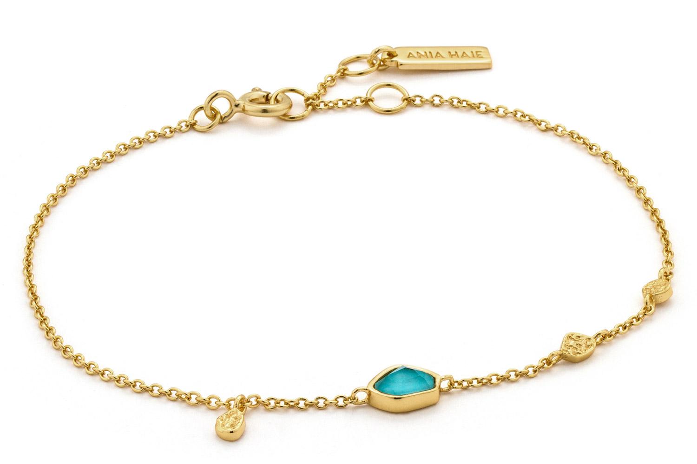 bei Uhrcenter: Ania Haie B014-01G Damen-Armband Silber 925 Goldplattiert Turquoise Discs - Schmuck