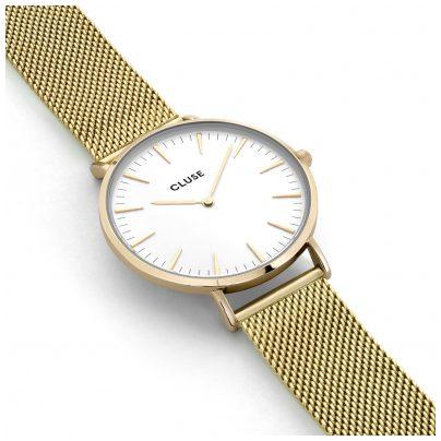 cluse uhr la boh me mesh gold white armbanduhr cl18109 ebay. Black Bedroom Furniture Sets. Home Design Ideas