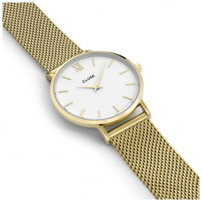 cluse uhr minuit mesh gold white damen armbanduhr cl30010. Black Bedroom Furniture Sets. Home Design Ideas