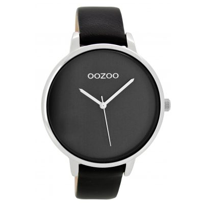 oozoo damenuhr mit lederband schwarz silber c8438 ebay. Black Bedroom Furniture Sets. Home Design Ideas