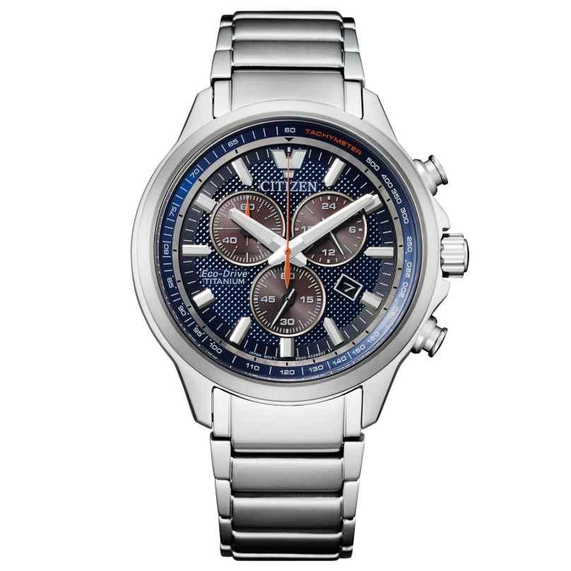 Citizen AT2470-85L Eco-Drive Herrenuhr Chronograph Titan Blau 4974374297167