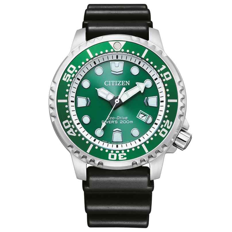 Citizen BN0158-18X Eco-Drive Solar Diver's Watch for Men Green 4974374299673