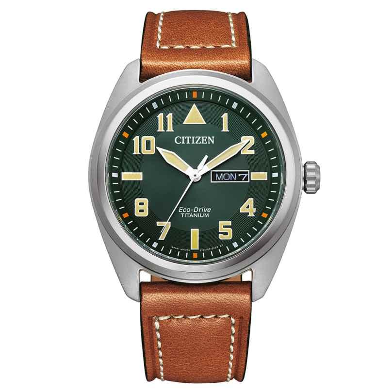 Citizen BM8560-11XE Eco-Drive Herren-Armbanduhr Titan Braun/Grün 4974374305657