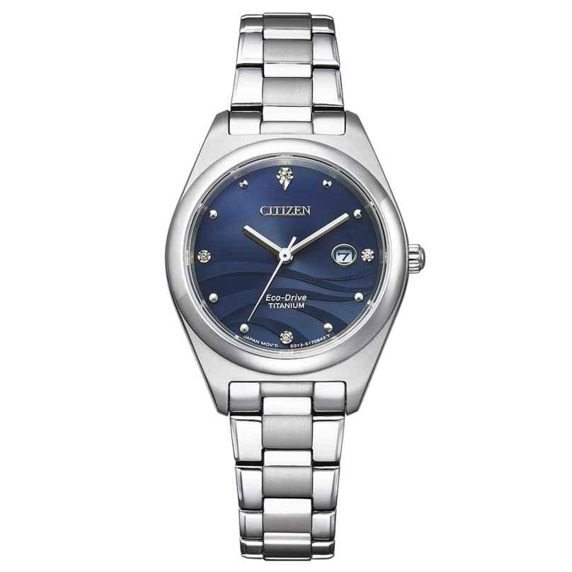 Citizen EW2600-83L Eco-Drive Damen-Armbanduhr Titan Perlmutt Blau 4974374302656