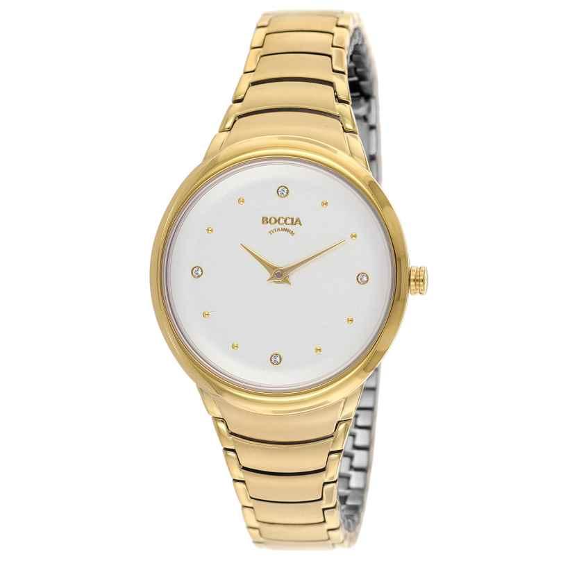 Boccia 3276-14 Titan-Damenarmbanduhr Trend Goldfarben 4040066262581