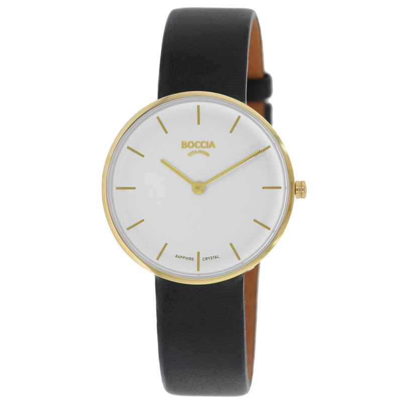 Boccia 3327-04 Damen-Armbanduhr Titan mit Saphirglas Lederband 4040066262963