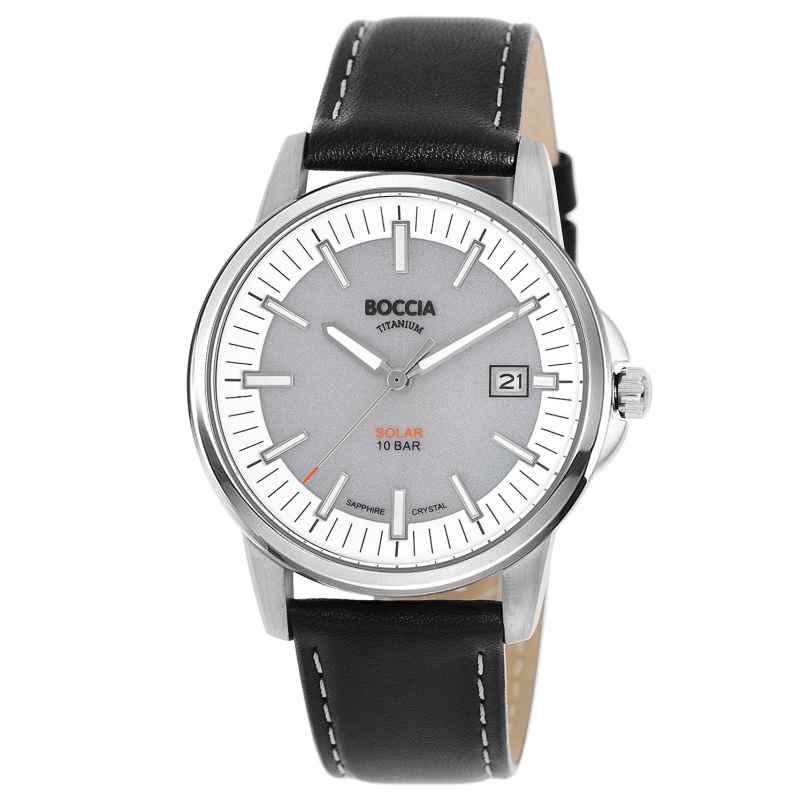 Boccia 3643-01 Herren-Solaruhr Titan mit Saphirglas grau/schwarz 4040066260358
