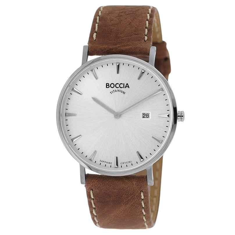 Boccia 3648-01 Herrenuhr Titan Braun/Silberfarben 4040066262727